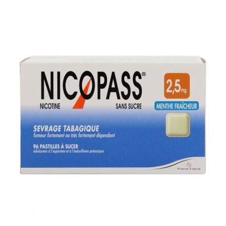 NICOPASS 2,5 MG MENTHE FRAÎCHE SANS SUCRES PAST 96