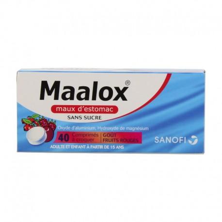 Maalox Maux D'estomac Sans Sucre Fruits Rouges 40 Comprimés