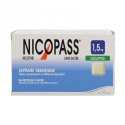 Nicopass 1.5Mg Sans Sucre Eucalyptus 96 Pastilles Édulcorées à Sucer