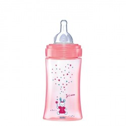 Dodie biberon Initiation+ tétine débit 2 rose 270 ml