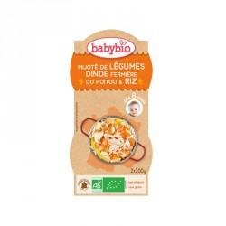 Babybio Bols Mijoté de légumes, Dinde fermière du Poitou & Riz 200g x2