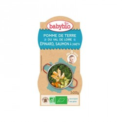 Babybio Bols Pomme de terre Valde Loire, Epinard & Saumon à l'aneth 200g x2