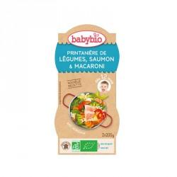 Babybio Bols Printanière de légumes, Saumon & Macaroni 200g x2