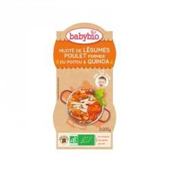 Babybio Bols Mijoté de Légumes Poulet fermier du Poitou & Quinoa 200g x2