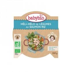 Babybio Assiette Méli-mélo de Légumes au Saumon Riz 260g