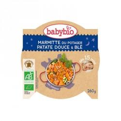 Babybio Assiette Marmitte du Potager, Patate douce & Blé 260g