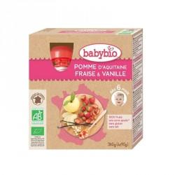 Babybio Gourdes Pomme, Fraise & Vanille 90g x4