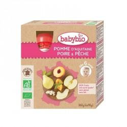 Babybio Gourdes Pomme, Poire & Pêche 90g x4