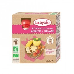 Babybio Gourdes Pomme, Abricot & Banane 90g x4