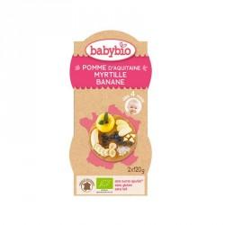 Babybio Bols Pomme d'Aquitaine, Myrtille et Banane 120g x2