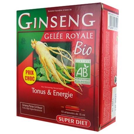 Super diet ginseng gelée royale bio 10 ampoules