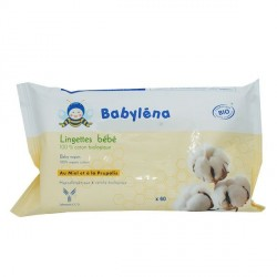 Babylena Lingettes 100% coton bio 60 lingettes