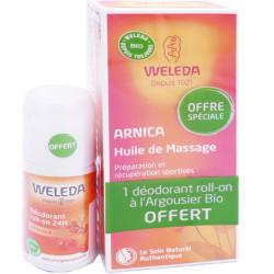 Weleda Huile de Massage à l'Arnica 200 ml + Déodorant Argousier Roll-On 24H 50 ml Offert