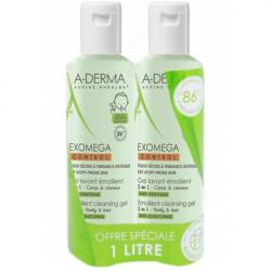 Aderma exomega control gel lavant emollient corps et cheveux 2 en 1 2x500ml