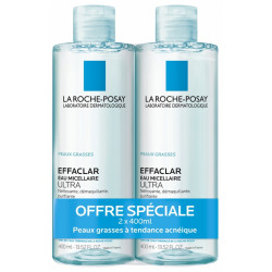 La Roche-Posay Effaclar Eau Micellaire Lot de 2 x 400 ml