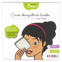 Les Tendances d'Emma 3 Carrés Démaquillants Lavables Coton Bio Biface