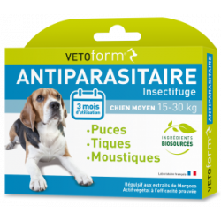 Vetoform moyen chien 15-30kg 3 pipettes