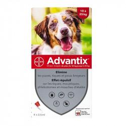 ADVANTIX moyen chien 10 à 25kg 4 pipettes