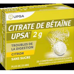 Citrate De Betaine Citron Upsa 2G Sans Sucre 20 Comprimés Effervescents