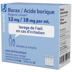 Borax 12mg / Acide Borique 18mg biogaran 15 unidoses de 5 ml