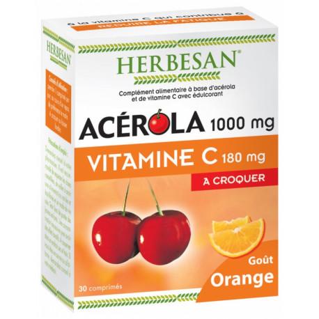 Herbesan Acérola 1000 mg Vitamine C 30 Comprimés à Croquer