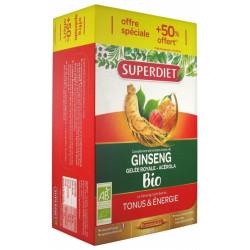 Super Diet Ginseng Gelée Royale et Acérola Bio 20 Ampoules + 10 Ampoules Offertes