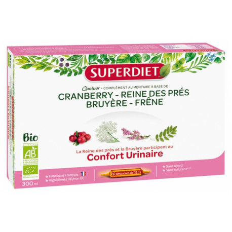 Super Diet Quatuor Reine des Prés Confort Urinaire Bio 20 Ampoules