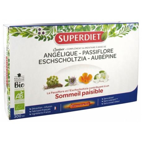 Super Diet Quatuor Passiflore Sommeil Paisible Bio 20 Ampoules