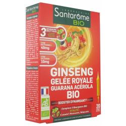 Santarome Bio Ginseng Gelée Royale Guarana Acérola Bio 20 Ampoules