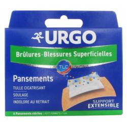Urgo Brûlures - Blessures Superficielles 6 Pansements Stériles Petit Format 5 x 7 cm