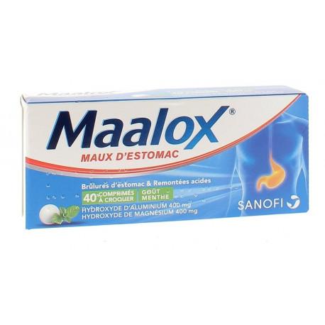 Maalox menthe 40 comprimés à croquer